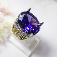 Cincin Titanium Batu Diamond Kecubung Cutting