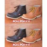 Sepatu Boot Kickers Saku Tan n Hitam