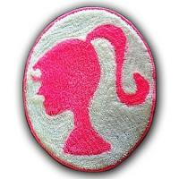 Keset Kaki bahan Wool Karakter Kartun Barbie Pink Background Abu-Abu
