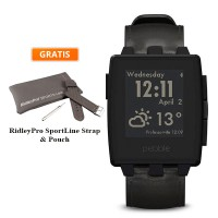 Pebble Steel Leather Smartwatch - Black