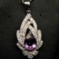 SL104. NATURAL 7 x 10 MM PURPLE AMETHYST & CZ STERLING 925 SILVER GOLD