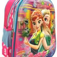 Tas Troley Anak Sekolah Frozen Fever 5D 2 Kantung IMPORT Timbul Pink