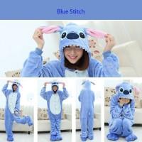Pajamas / Piyama Jumpsuit Dewasa Plush Lembut Stitch (biru)