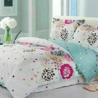 BED COVER SET CANTIK ELEGANT *BUNGA PUTIH LEMBUT* size 160