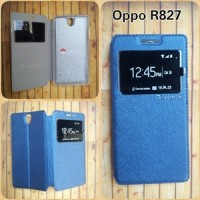 Oppo Find 5 Mini R827 - Flip Shell View I-cover Blue - Leather Case