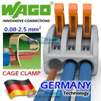 Jual WAGO Connector 3 Wire 222-413 Compact Terminal Block Lever Cage Clamp Murah