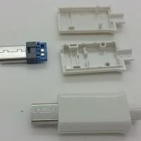 Micro USB 5 Pin T Port Male Plug Socket Connector & Plastic Cover
