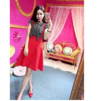 harga baju setelan dress korea blouse chiffon polkadot rok merah import Tokopedia.com