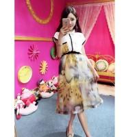 harga Baju Setelan Dress Blouse Rok Chiffon Leo Import Tokopedia.com