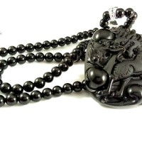 Qilin Obsidian Pendant with Natural Black Onyx
