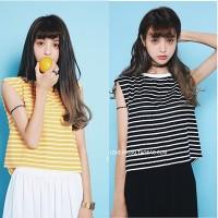 SE4ZTLB Croptop Sleeveless Baju Garis Garis Hitam & Kuning Baju Pantai