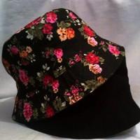 topi Bucket hat bunga baket floral bulat hitam pink ungu bolak balik