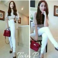 harga Celana Jeans Berchi High Waist White Putih Tokopedia.com