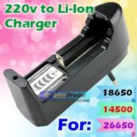 Universal Charger Batere 18650 14500 26650 16340 Li-Ion Senter Baterai
