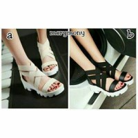 sandal ikat m2m wedges mory mony black and white