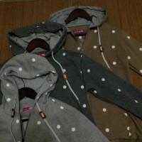 harga jaket jacket wool hoodie kapucong remaja wanita polkadot sesame Tokopedia.com