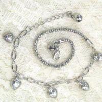 Silver Heart Combine Chain Anklet - Perhiasan Gelang Kaki Lapis Emas