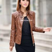 harga Jaket Kulit Wanita Peminim Blazer Jacket Semi Sintetis Imitasi Kulit Tokopedia.com