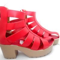 harga Boot Heels 7cm Merah Red Sepatu Wanita Platform Casual Kulit Boots Tokopedia.com