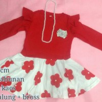 harga dress merah 4 tahun bunga kalung bross baju anak balita Tokopedia.com