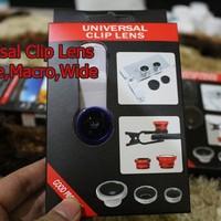 Lensa jepit / Cliplens camera 3in1 ( fish eye , wide , macro ) untuk semua kamera hp bb , iphone , samsung , dll