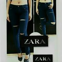 harga Celana Jeans Zara Slash 3 Ripped Navy Blue Tokopedia.com