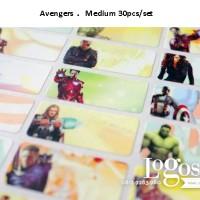 Avengers Sticker MEDIUM Name Label. Stiker karakter Ironman, Hulk, Thor, Spiderman, lucu utk nama di buku tas sekolah hp hadiah