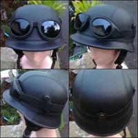 harga helm retro vespa clasic  nazi hitam polos + kaca mata google Tokopedia.com