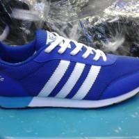 sepatu adidas neo clasik murah warna biru lis putih+ box