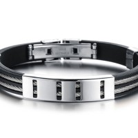 Gelang Stainless Steel Mix Silicone Male - ICB841