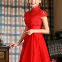 W29 Dress Cheongsam Merah Zhongshan, Pabrik Mutu Bagus SIZE LENGKAP