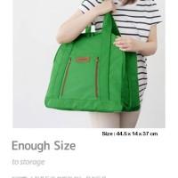 Korean Traveler / Shopper Bag GREEN (tas jumbo, bahan tebal)