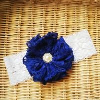 Jual Bandana bayi baby headband jepit rambut bando anak bunga biru 0131 Murah
