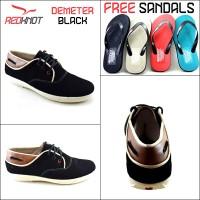 Sepatu Kulit Casual Redknot Demeter Hitam (Bonus Sandal)