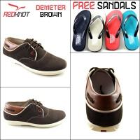 Sepatu Kulit Casual Redknot Demeter Coklat (Bonus Sandal)