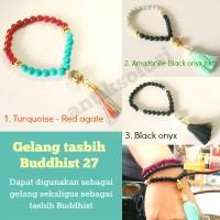 GELANG TASBIH CRYSTAL BUDDHIST 27 - BLACK ONYX