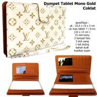 dompet clutch organaizer hpo tempat tablet lv mono gold brown super