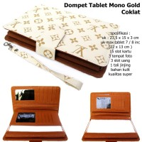 dompet clutch organaizer hpo tempat tablet lv mono gold coklat