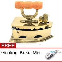 Miniatur Setrika Kuno Arang Kuningan - 10x9x0.5 cm
