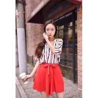 harga Baju Import Korea Blouse Chiffon Garis Celana Pendek Merah Casual Tokopedia.com