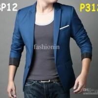 P312 Blazer Pria Biru Korea Penjahit Hebat Baju Jas Bagus SIZE LENGKAP