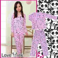 Baju Tidur Setelan Panjang - Piyama Sleepwear Lucu - Softpink Panda