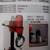 Mesin BOR DIAMOND CORE DRILL BETON COR JALAN ASPAL 205mm WIPRO