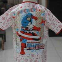 Piyama Katun Anak Motif Captain America Size 4,5,6