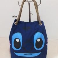 Jual Tas tote biru Stitch lucu imut keren harga murah untuk wanita cewek Murah