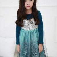 IG 279 Frozen Blue snow Elsa's party dress / baju pesta anak import