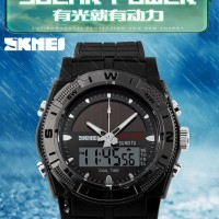 Jam Tangan SKMEI SOLAR POWER Waterproof 5ATM Dual Time Tenaga Surya