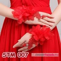 Jual Sarung Tangan Pengantin Lace Merah  l Aksesoris Wedding Wanita-STM 007 Murah