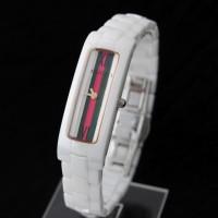 Jam Tangan Arloji Wanita / Cewe Gucci Kapsul Lidi Keramik Putih Garis