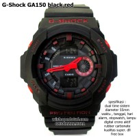 jam tangan digital analog dual time g-shock ga 150 super black red